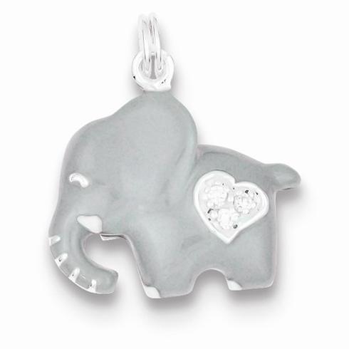 Sterling Silver CZ Grey Enameled Elephant Charm