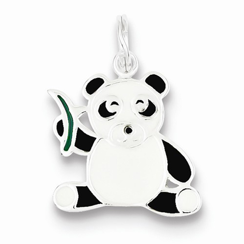 Sterling Silver Enameled Panda Bear and Bamboo Charm