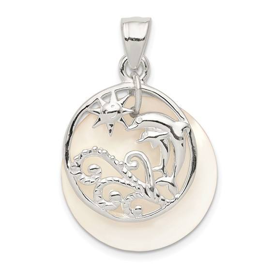Sterling Silver 5/8in Dolphin and Waves Mother of Pearl Pendant
