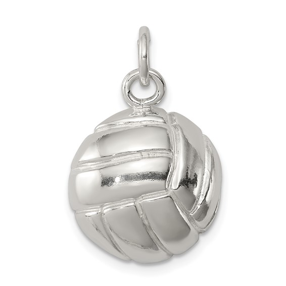 Sterling Silver 9/16in Polished Volleyball Charm