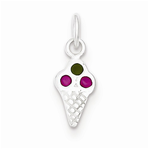Sterling Silver Enameled Ice Cream Cone Charm