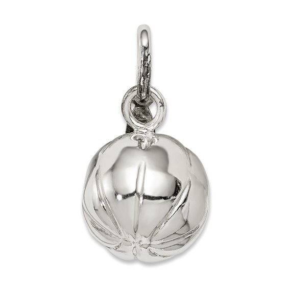 Sterling Silver 1/2in 3-D Basketball Charm