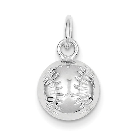 Sterling Silver 3/8in Baseball Charm