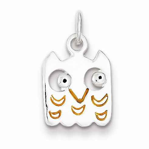 Sterling Silver Yellow Enameled Owl Charm