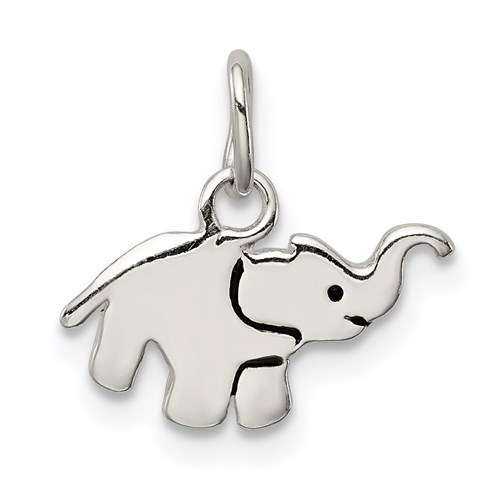 Sterling Silver Enameled Flat Elephant Charm