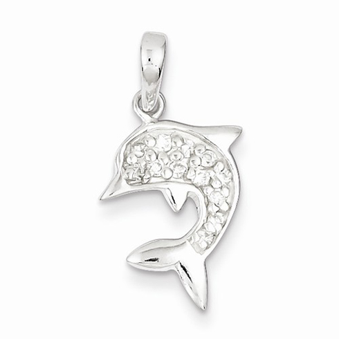 Sterling Silver 5/8in Dolphin Pendant with CZs