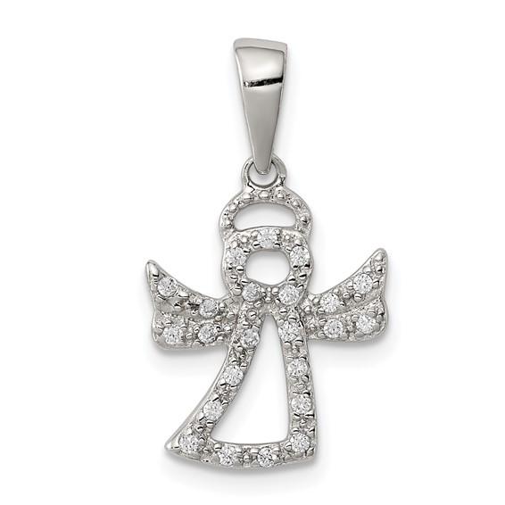Sterling Silver 3/8in CZ Angel Pendant