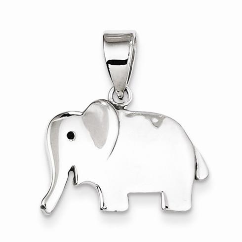 Sterling Silver 1/2in Happy Elephant Pendant