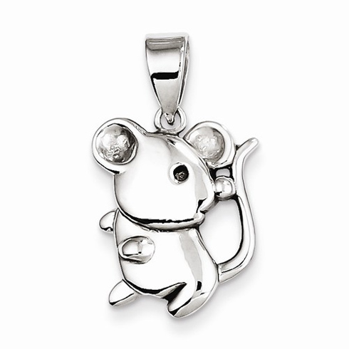 Sterling Silver 5/8in Lively Mouse Pendant