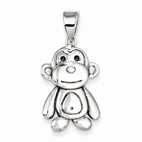 Sterling Silver 7/8in Monkey Pendant