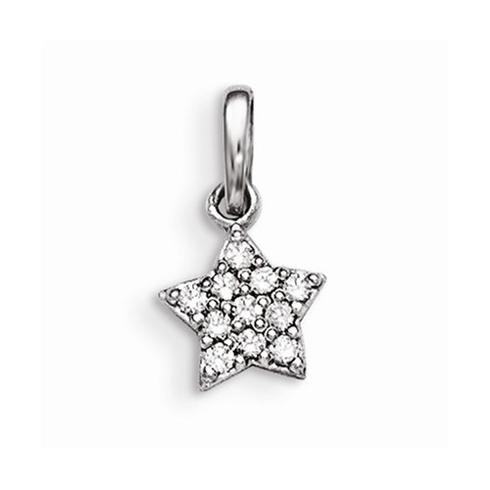 Sterling Silver 1/4in CZ Children's Star Charm