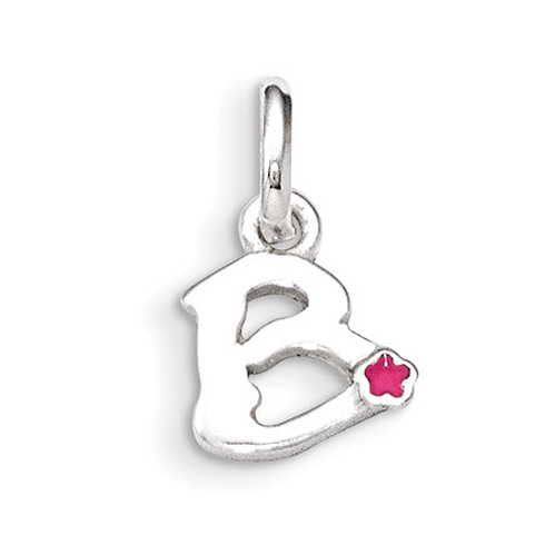 Sterling Silver Letter B with Hot Pink Enamel Pendant