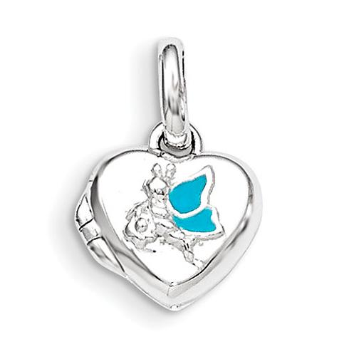 Sterling Silver 3/8in Blue Enamel Heart Locket
