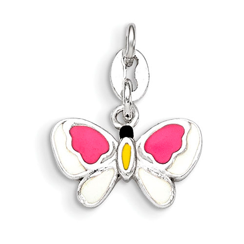 Sterling Silver Pink and Yellow Enamel Butterfly Pendant