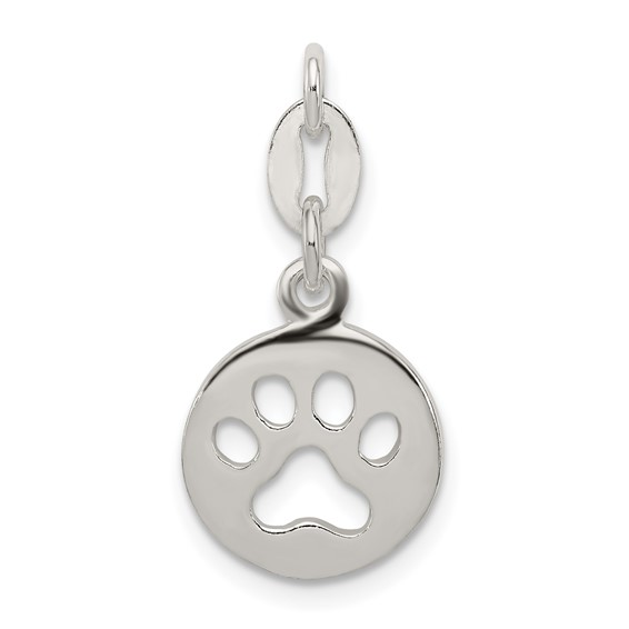 Sterling Silver 1/2in Round Paw Print Charm