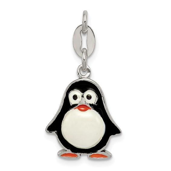 Sterling Silver 5/8in Enamel Penguin Pendant
