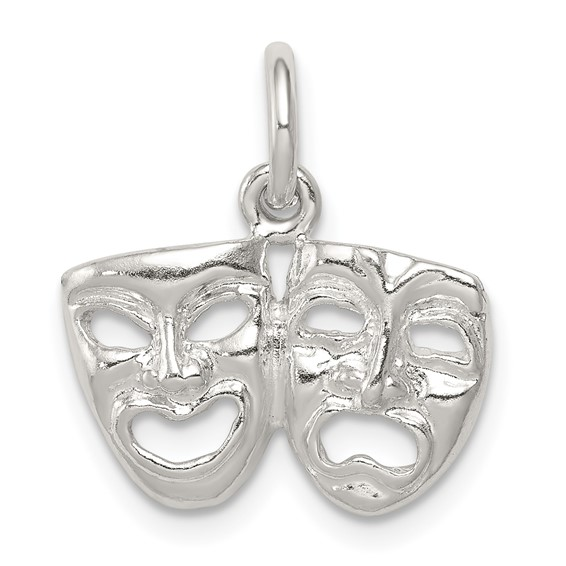 Comedy Tragedy Charm 3/8in Sterling Silver