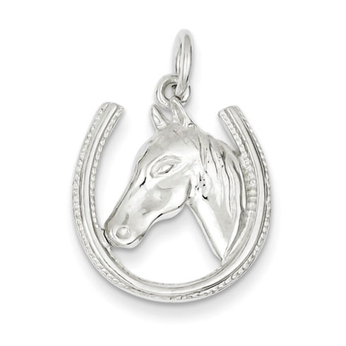 Sterling Silver Horseshoe Horse Head Pendant