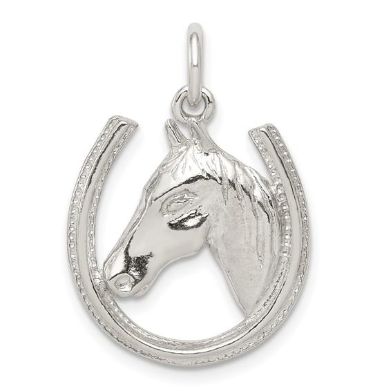 Sterling Silver Horseshoe Horse Head Pendant