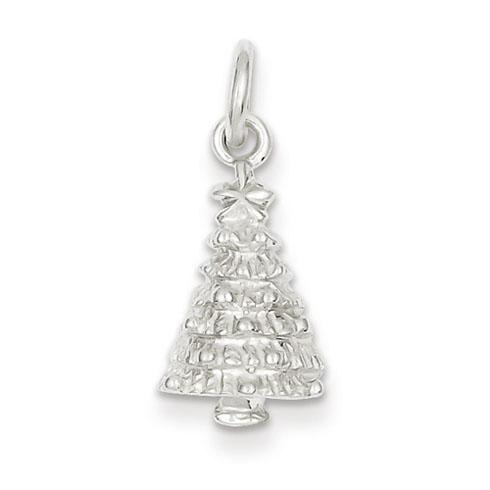Sterling Silver 1/2in Christmas Tree Charm