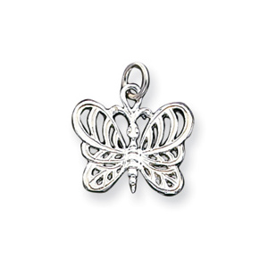 Sterling Silver 1/2in Fancy Butterfly Charm