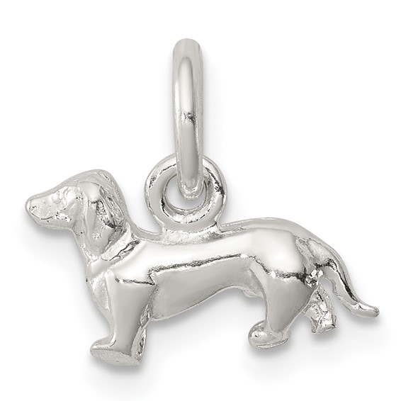 Sterling Silver 1/4in 3-D Dog Charm