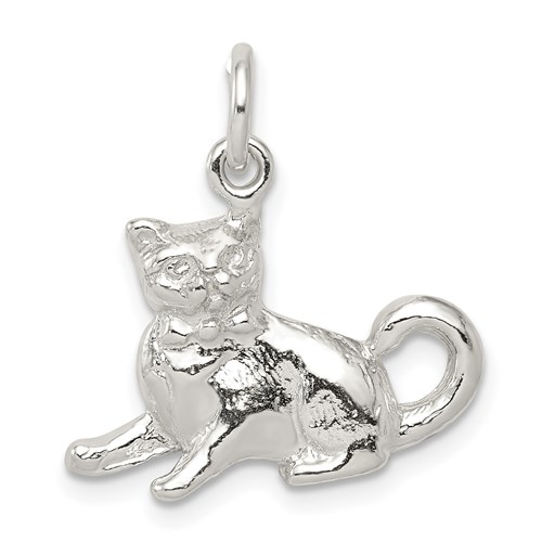 Sterling Silver 3-D Sitting Cat Charm