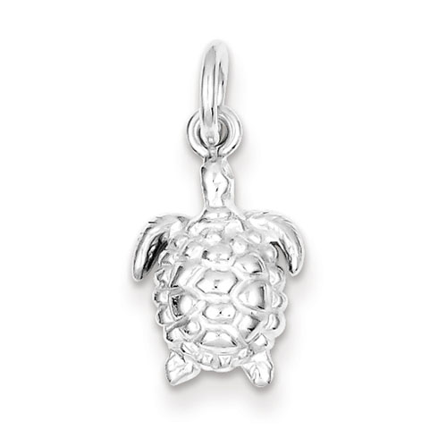 Sterling Silver 1/2in Polished Turtle Charm