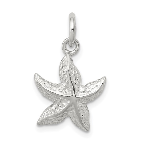 Sterling Silver 1/2in Starfish Charm with Open Back