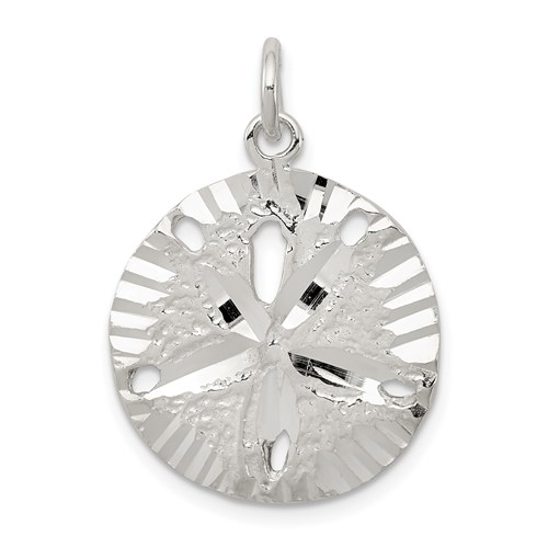 Sterling Silver 3/4in Round Sand Dollar Charm