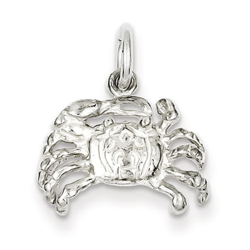 Sterling Silver 3/8in 3-D Crab Charm