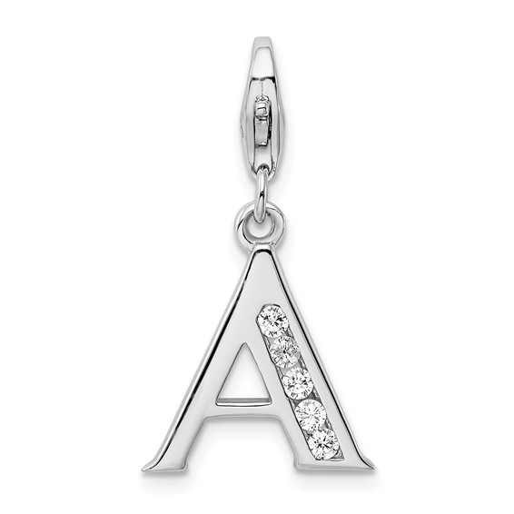 Sterling Silver CZ Letter A with Lobster Clasp Charm