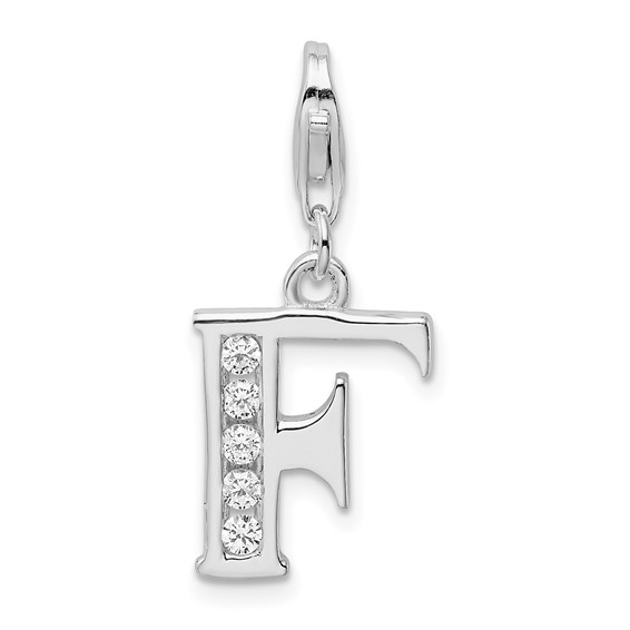 Sterling Silver CZ Letter F with Lobster Clasp Charm
