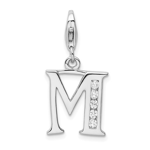 Sterling Silver CZ Letter M with Lobster Clasp Charm