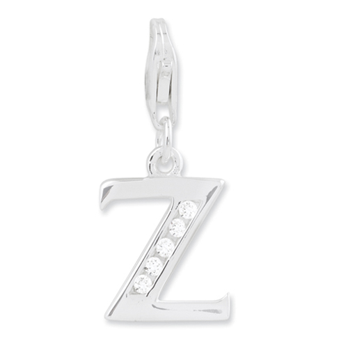 Sterling Silver CZ Letter Z with Lobster Clasp Charm