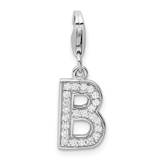 Sterling Silver CZ Letter B with Lobster Clasp Charm