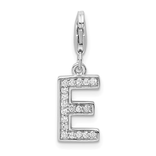 Sterling Silver CZ Letter E with Lobster Clasp Charm