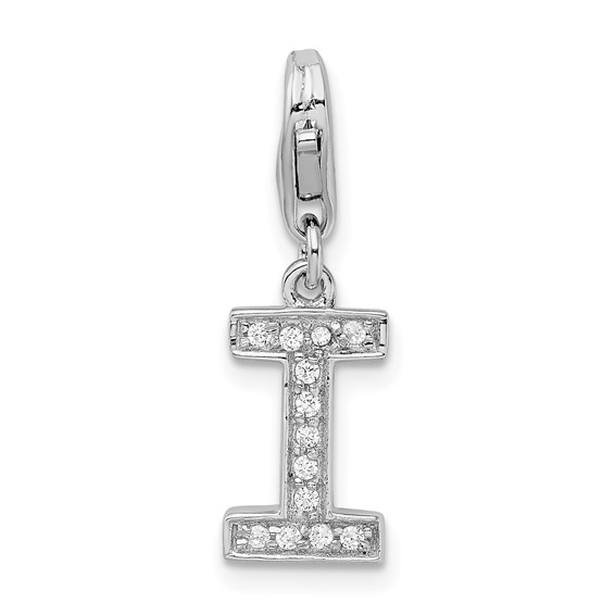 Sterling Silver CZ Letter I with Lobster Clasp Charm