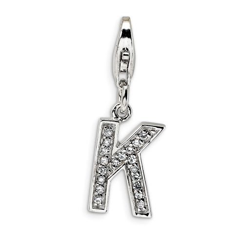 Sterling Silver CZ Letter K with Lobster Clasp Charm