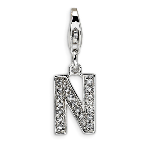 Sterling Silver CZ Letter N with Lobster Clasp Charm