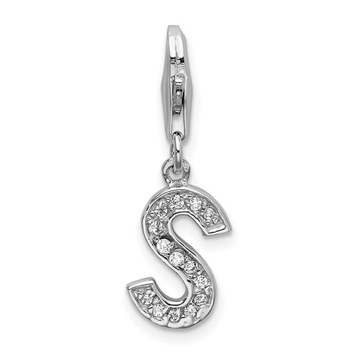 Sterling Silver CZ Letter S with Lobster Clasp Charm