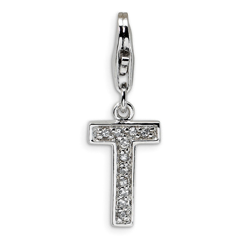 Sterling Silver CZ Letter T with Lobster Clasp Charm