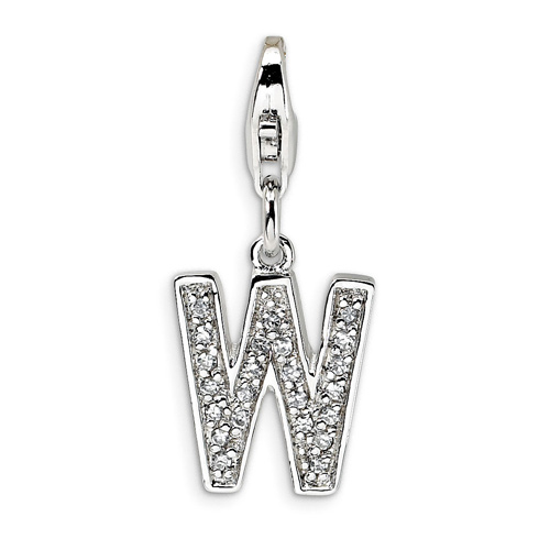 Sterling Silver CZ Letter W with Lobster Clasp Charm