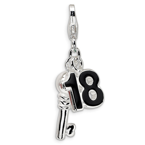 Sterling Silver 3-D Enameled 18 and Key Charm
