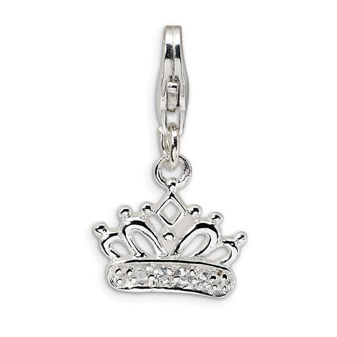 Sterling Silver CZ Crown Charm with Lobster Clasp
