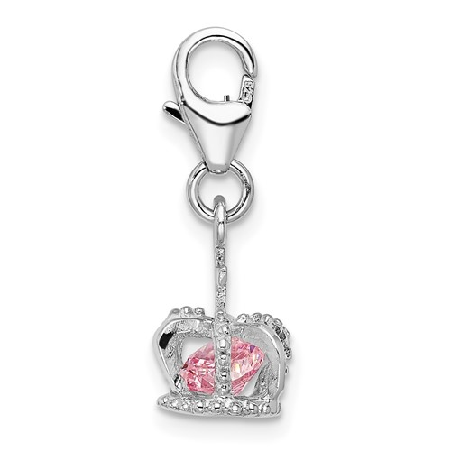 Sterling Silver 3-D CZ Crown with Lobster Clasp Charm