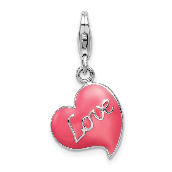Sterling Silver 3-D Pink Enameled Heart with Lobster Clasp Charm