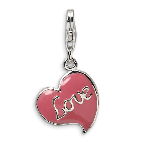 Sterling Silver 3-D Pink Enameled Heart Charm with Lobster Clasp
