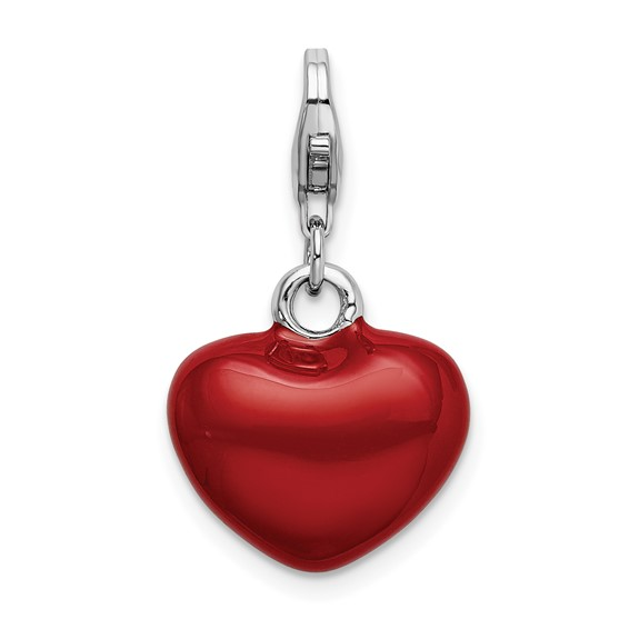 Sterling Silver 3-D Red Enameled Heart with Lobster Clasp Charm