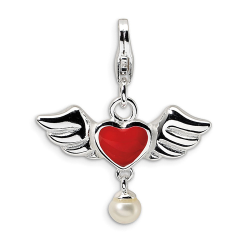 Sterling Silver 3-D Winged Red Heart & Cultured Pearl Charm